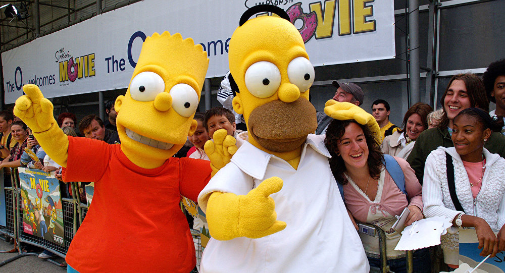 Mascots dressed as Homer Simpson Bart Simpson wave entertain fans 25 July 2007 at the British Premiere of The Simpsons Movie, at the Dome in London