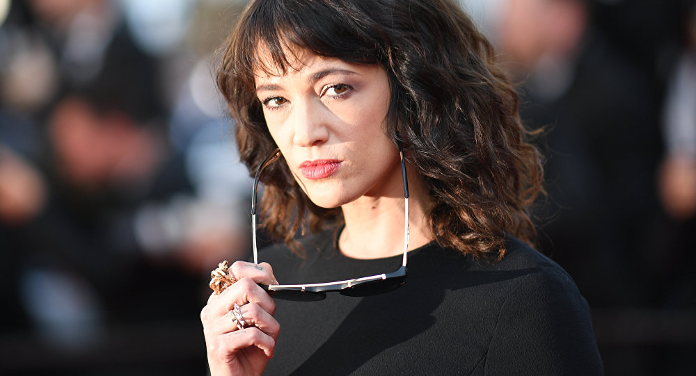 (FILES) In this file photo taken on May 19, 2018 Italian actress Asia Argento poses as she arrives for the closing ceremony and the screening of the film The Man Who Killed Don Quixote at the 71st edition of the Cannes Film Festival in Cannes, southern France