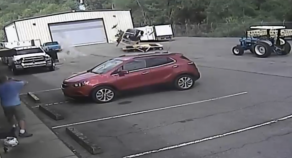 Arkansas' Little Rock Police Department release surveillance footage showing moment that chopper violently crashed while undergoing equipment testing