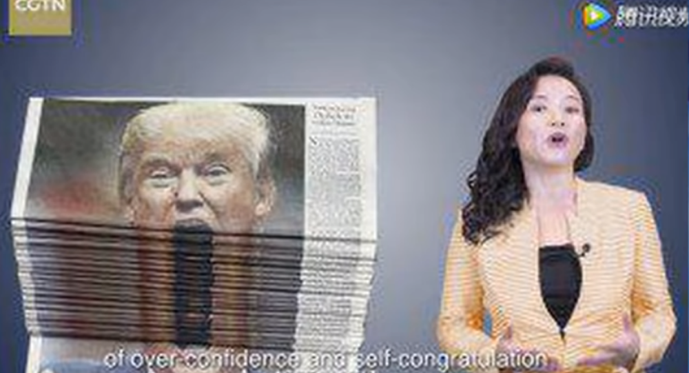 China Global Television Network publishes satirical video thanking US President Donald Trump for trade policy