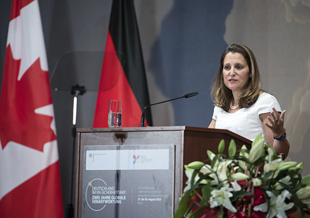 Canadian Foreign Minister Chrystia Freeland speaks at a meeting of German ambassadors in Berlin Monday, Aug. 27, 2018