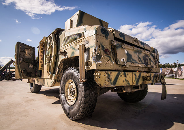 A trophu Hummer shown at the exhibition of weapons taken from Syrian militants as part of the 4th International Military Technical Forum, Army 2018, in Kubinka