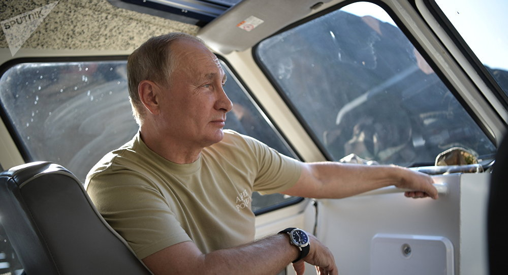 26 August, 2018. Russian President Vladimir Putin during his vacation in the Republic of Tyva