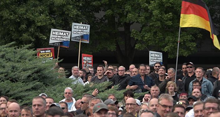 Rally in Chemnitz, Germany