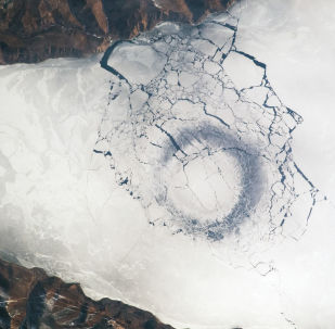 A view of Lake Baikal from space.