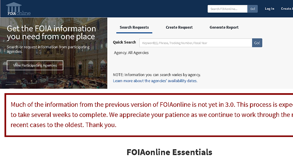 Screenshot of foiaonline.gov website.
