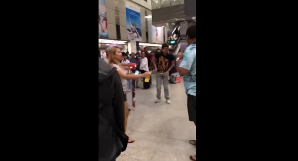 MMA showdown at train station