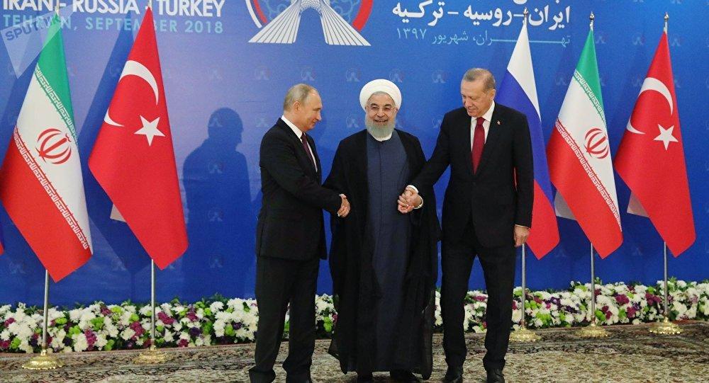 Russian President Vladimir Putin, Iranian President Hassan Rouhani, and Turkish President Recep Tayyip Erdogan during trilateral talks in Tehran.