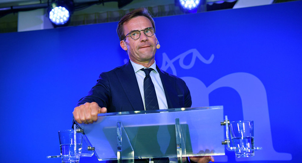 Ulf Kristersson, leader of Sweden's Moderate Party, speaks at an election party at the Scandic Continental hotel in central Stockholm, Sweden September 9, 2018.