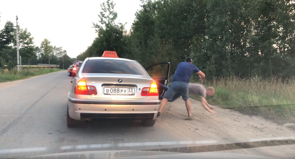 Russian Taxi Driver Delivers Instant Justice to Littering Patron