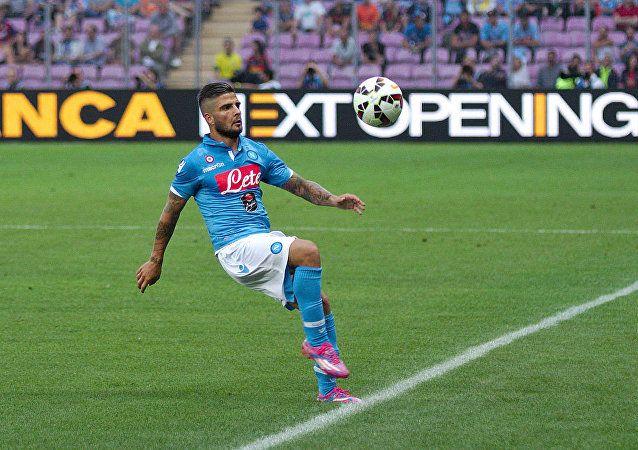 Lorenzo Insigne playing for Napoli against Barcelona