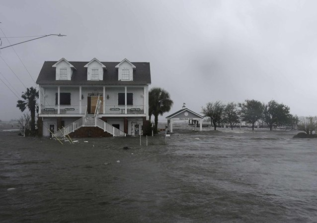 High winds and water surround a house as Hurricane Florence hits Swansboro N.C., Friday, Sept. 14, 2018