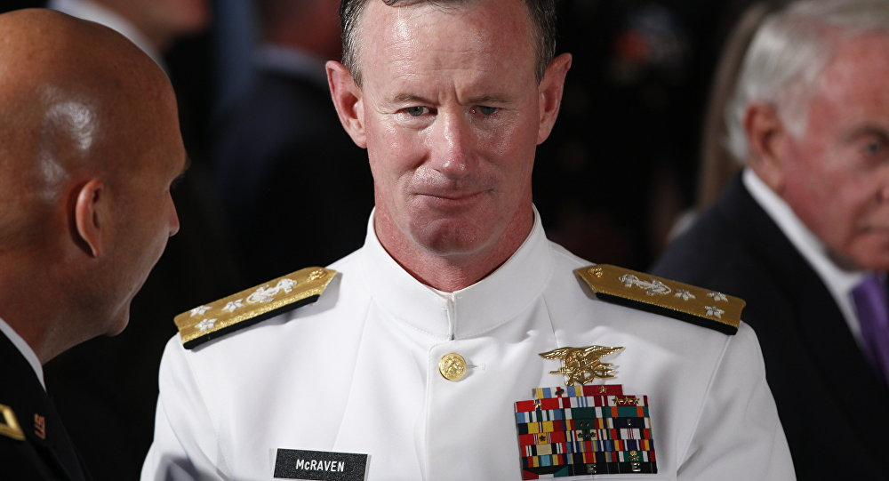 Navy Vice Admiral William McRaven during a ceremony in White House, 2011.