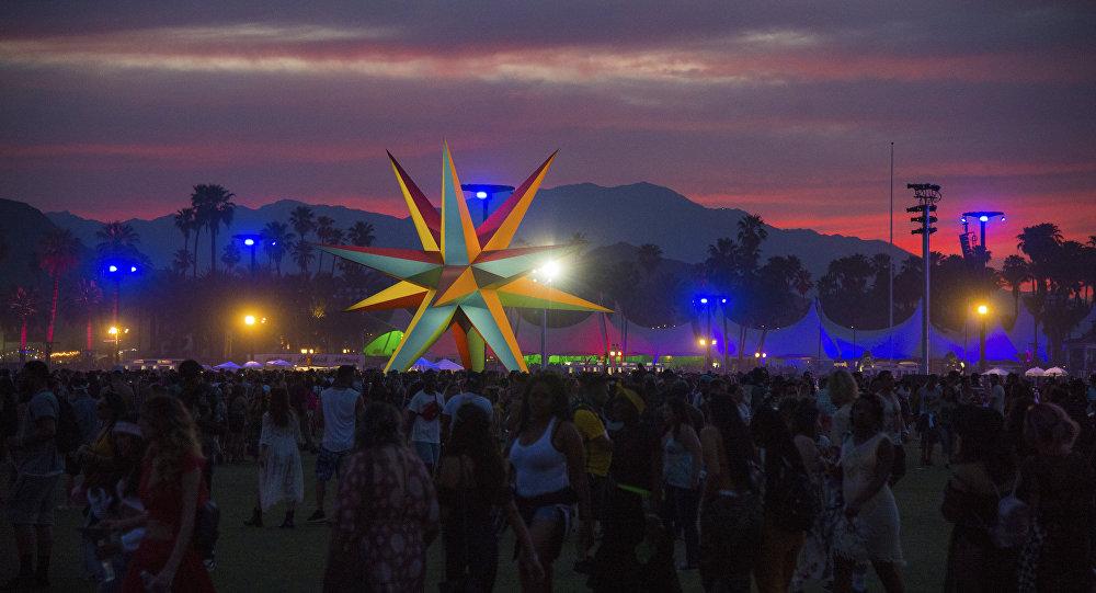 The sun sets over the Coachella Music & Arts Festival at the Empire Polo Club on Saturday, April 21, 2018, in Indio, Calif.