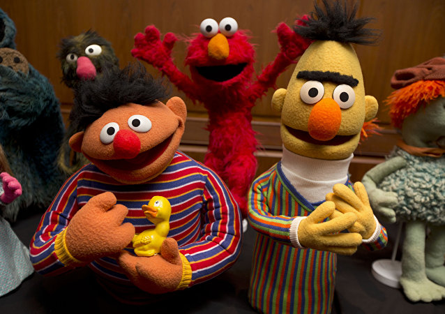 Bert and Ernie, as well as Elmo, center, are among a donation of additional Jim Henson objects to the Smithsonian's National Museum of American History in Washington, Tuesday, Sept. 24, 2013.