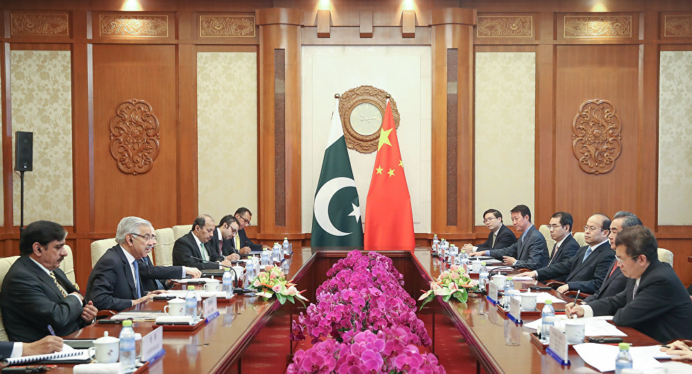 Chinese Foreign Minister Wang Yi (2nd R) meets with Pakistan Foreign Minister Khawaja Muhammad Asif (2nd L) at Diaoyutai State Guesthouse on September 8, 2017 in Beijing, China