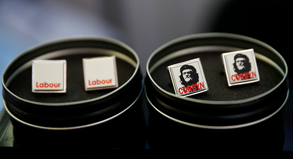 Cuff links featuring an image of Jeremy Corbyn in the style of Che Guevarra are seen for sale at the Labour Party's conference in Liverpool, Britain, September 24, 2018