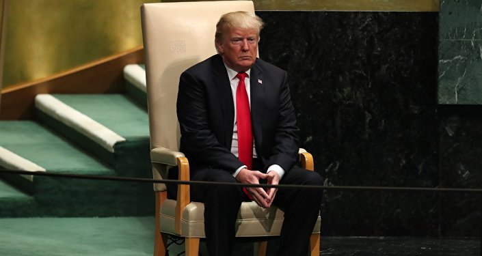 U.S. President Donald Trump sits in the chair reserved for heads of state before delivering his address during the 73rd session of the United Nations General Assembly at U.N. headquarters in New York, U.S., September 25, 2018