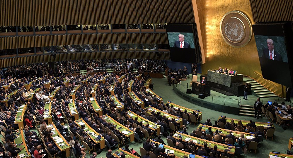 United States President Donald Trump speaks at the United Nations General Assembly in New York.