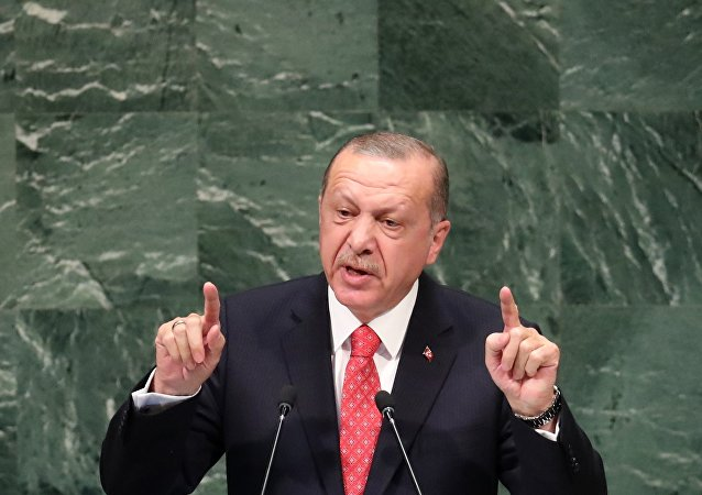 Turkey's President Recep Tayyip Erdogan addresses the 73rd session of the United Nations General Assembly at U.N. headquarters in New York, U.S., September 25, 2018.