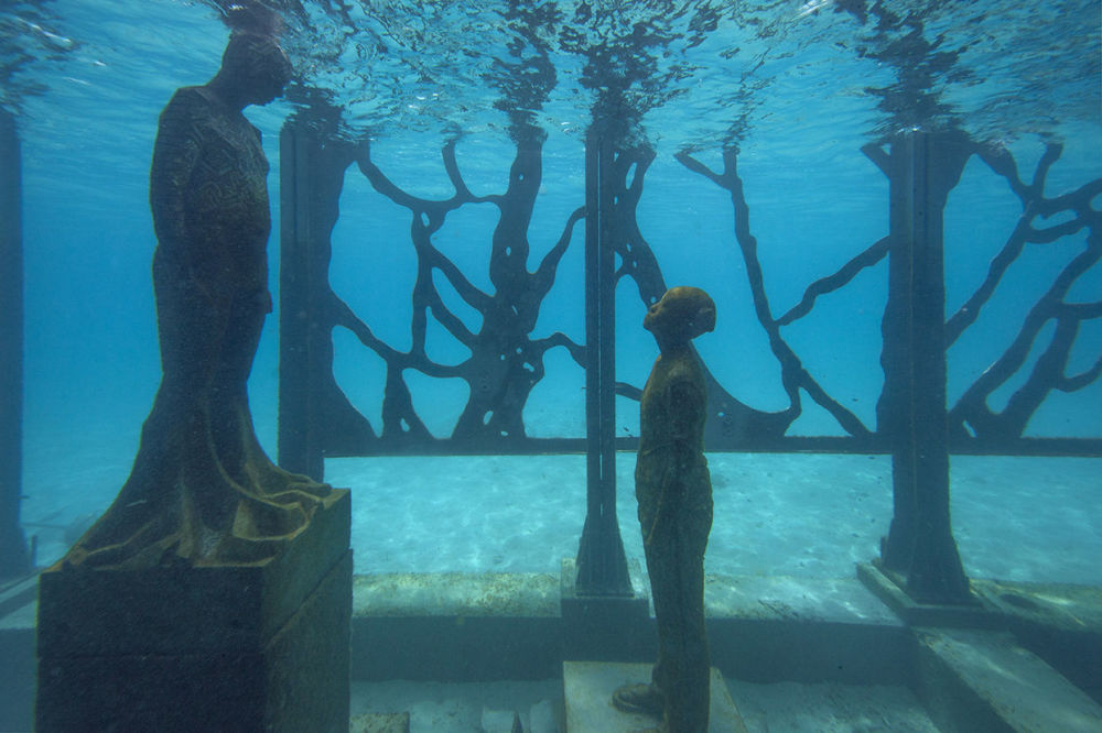 Underwater Series of Sculptures Colarium by Jason deCaires Taylor's in Maldives