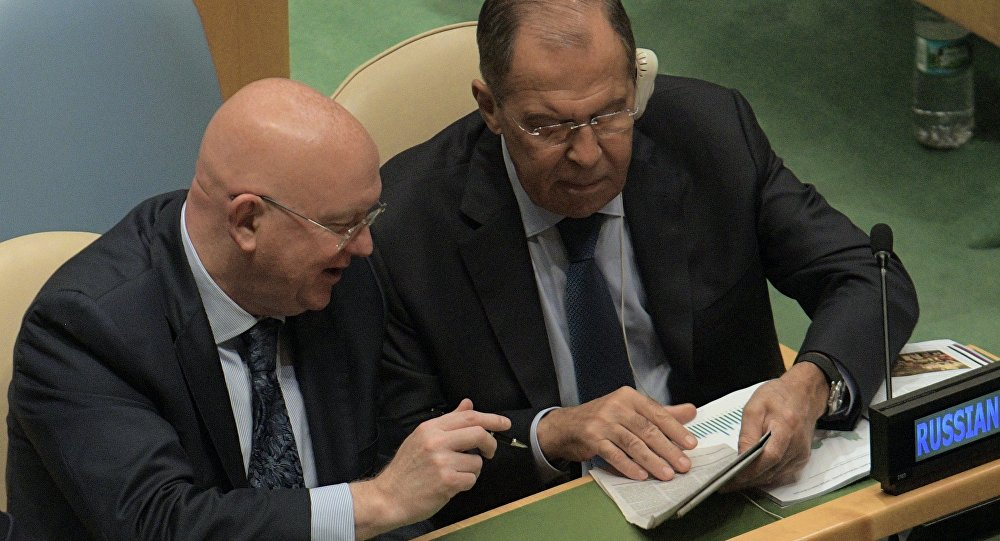 Russian Foreign Minister Sergei Lavrov (right) and Russia's Permanent Representative to the United Nations (UN) Vasily Nebenzia at the United Nations General Assembly in New York.