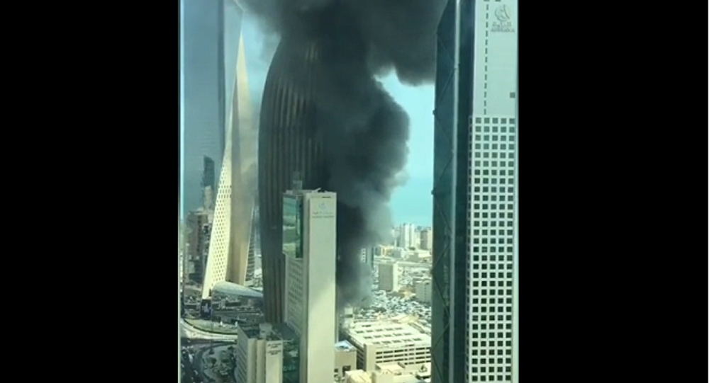Fire rages at the National Bank of Kuwait headquarters in Kuwait City