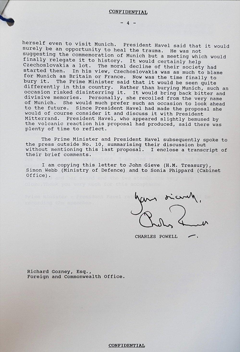 Transcript of a Thatcher-Havel conversation.