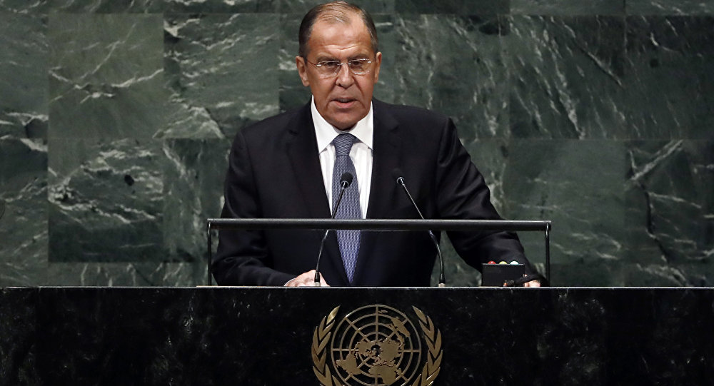 Russia's Foreign Minister Sergey Lavrov addresses the 73rd session of the United Nations General Assembly, at U.N. headquarters, Friday, Sept. 28, 2018
