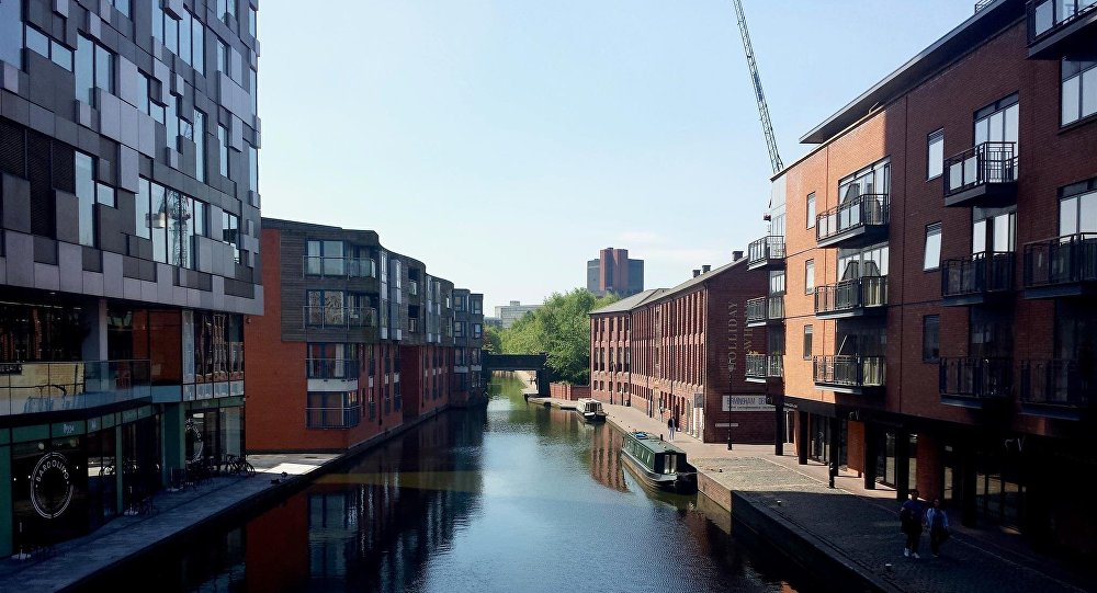 The Mailbox (left) pictured along the Birmingham Canal at the Gas Street Basin.