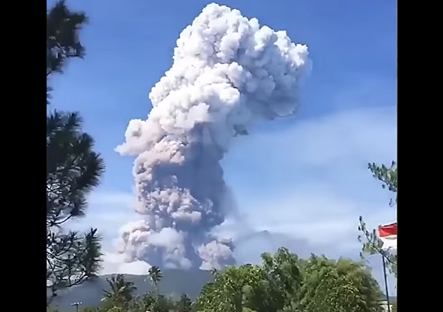 Mount Soputan Erupts on the north coast of Sulawesi, Indonesia, October 3, 2018