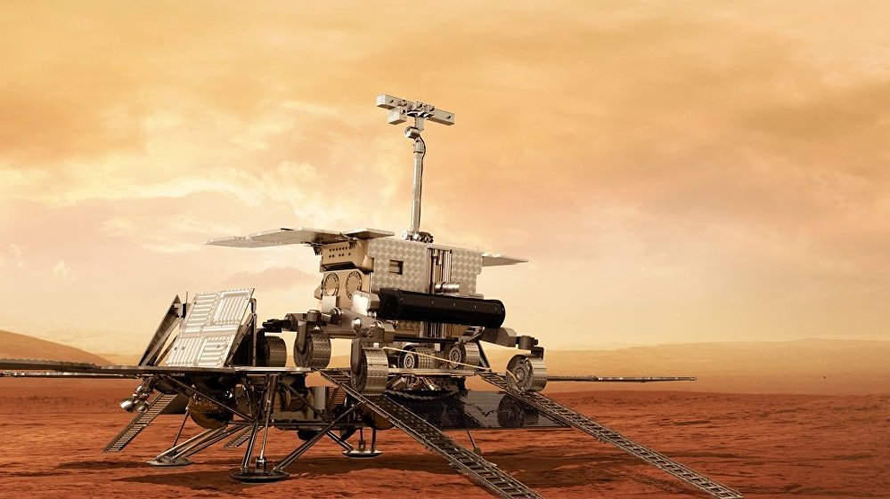 A model of the ExoMars rover to be used by the European Space Agency to drill on the Red Planet in 2020.