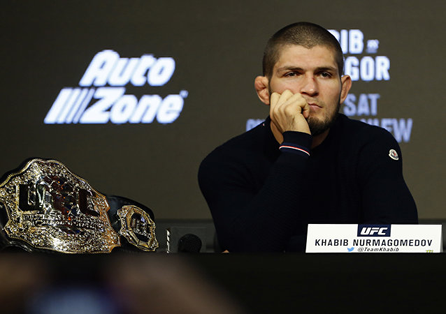 Khabib Nurmagomedov during a press conference for UFC 229 at Radio City Music Hallin New York, Sep. 20, 2018