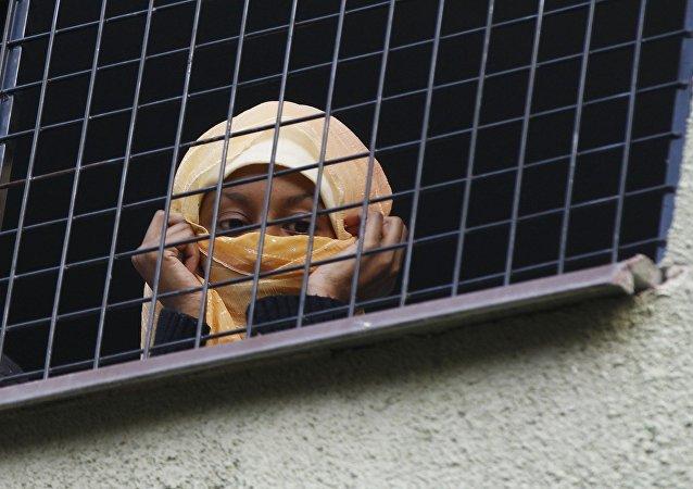 Migrant at Bela-Jezova Refugee Facility in Czech Republic