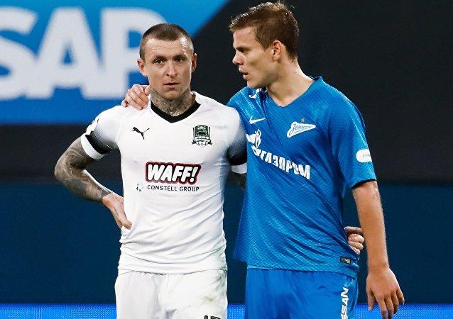 Zenit FC striker Alexander Kokorin and Krasnodar FC midfielder Pavel Mamayev