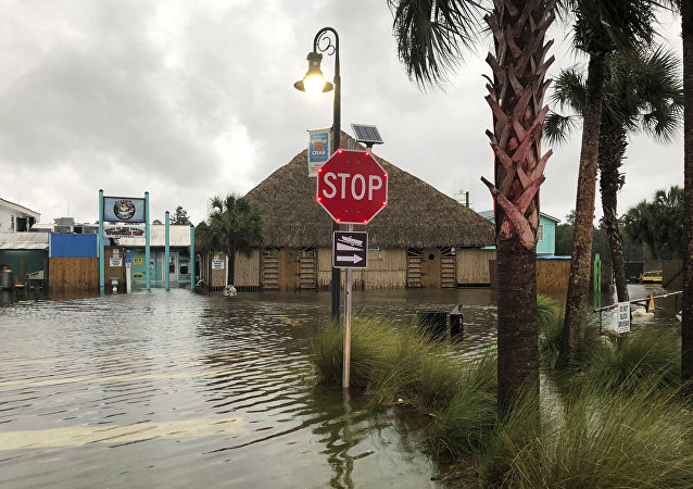 The St. Marks River overflows into the city of St. Marks, Fla., ahead of Hurricane Michael, Wednesday, Oct. 10, 2018.