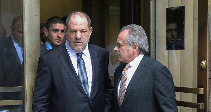 Film producer Harvey Weinstein exits New York Supreme Court with attorney Brafman in Manhattan in New York City.