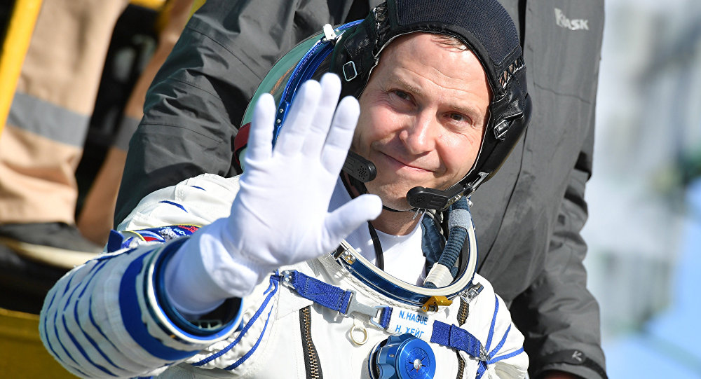 US astronaut Nick Hague Before Start From Baikonur Cosmodrome