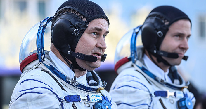 Russian Astronaut Alexey Ovchinin and US Astronaut Nick Hague  Before Start From Baikonur Cosmodrome