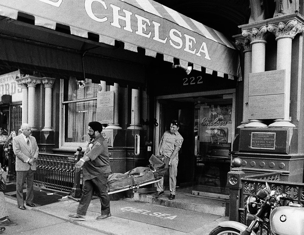 The body of 20-year-old Nancy Spungen is removed from the Chelsea Hotel in New York in October 1978