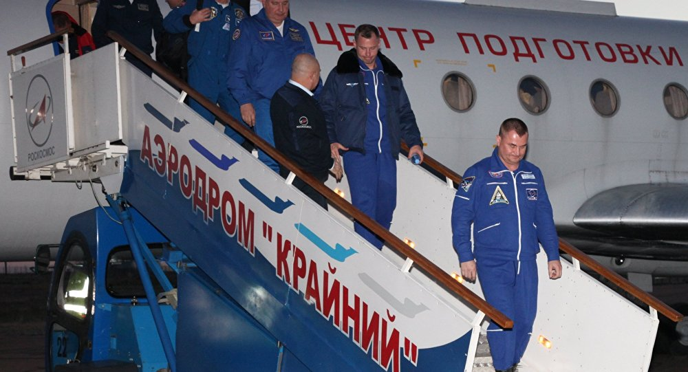 Crew Members of Soyuz Ms-10 Spacecraft at Baikonur Airport