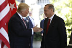 President Donald Trump welcomes Turkish President Recep Tayyip Erdogan to the White House in Washington