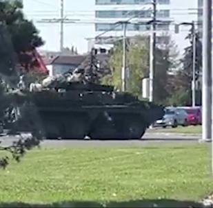 NATO secretely moving equipment through Slovakia. Amateur footage.