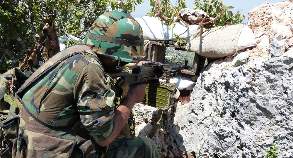 Syrian troops carrying out operations against militants in Latakia.