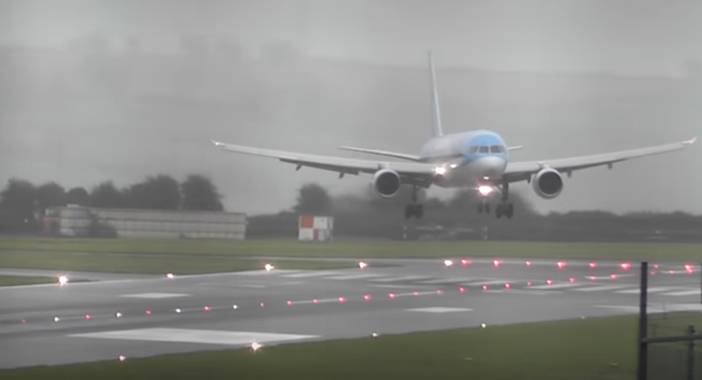 Plane makes sideways landing
