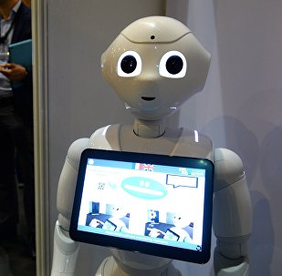Pepper Robots of Softbank is on display at the Robotics event Innorobo in La Plaine Saint-Denis on May 26, 2016.