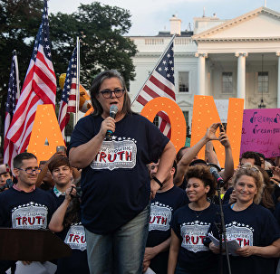US comedian Rosie O'Donnell addresses a protest against US President Donald Trump in front of the White House in Washington, DC, on August 6, 2018.