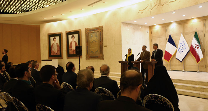 Philippe Bonnecarrere (R),president of France-Iran Friendship Group at the French Senate, Kazem Jalali (C), president of France-Iran Friendship Group at Iran's Parliament and Delphine O (L), president of France-Iran Friendship Group at the French National Assembly, give a joint press conference in the Iranian capital Tehran on October 21, 2018