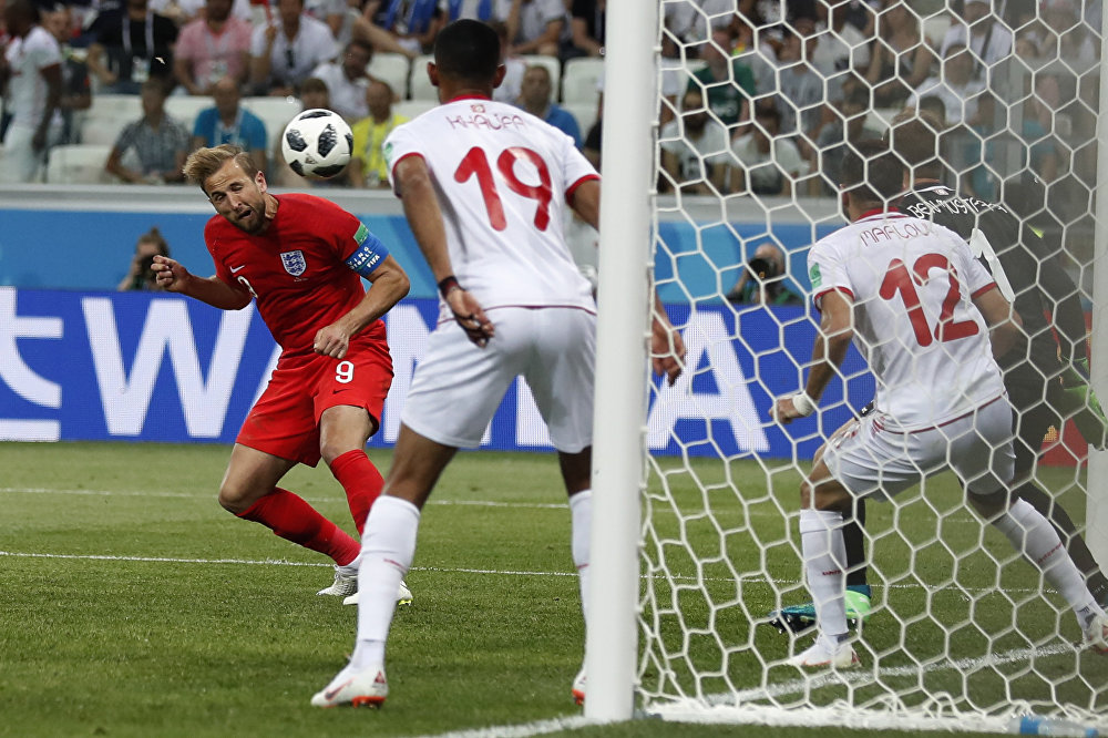 England's Harry Kane scores his side's 2nd goal against Tunisia during a group G match at the 2018 soccer World Cup in the Volgograd Arena in Volgograd, Russia, Monday, June 18, 2018.