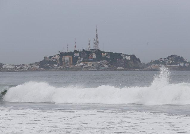A general view shows the sea along the Mazatlan coast as Hurricane Willa approaches the Pacific beach resort